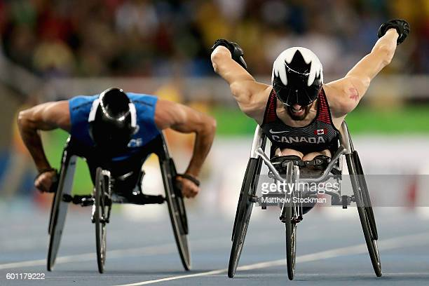 Brent Lakatos of Canada crosses the finish line to win the men's 100 meter T53 final on day 2 of the Rio 2016 Paralympic Games at on September 9 2016...