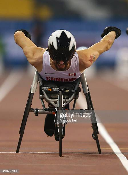 Brent Lakatos of Canada in action on his way to victory in the Men's 100m T53 Final during the Evening Session on Day One of the IPC Athletics World...