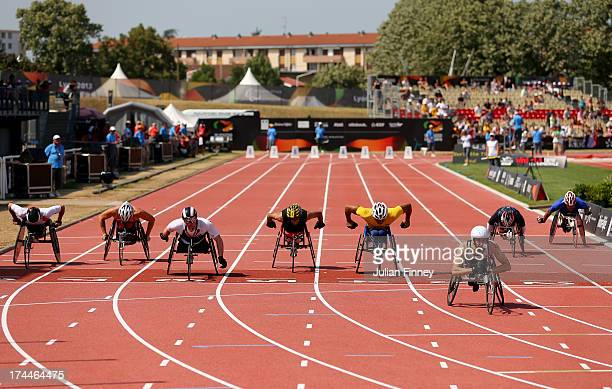 Brent Lakatos of Canada wins ahead of Mickey Bushell of Great Britain in the Men's 100m T53 final during day seven of the IPC Athletics World...