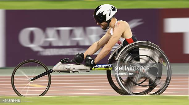 Brent Lakatos of Canada wins the men's 800m T53 final during the Evening Session on Day Eight of the IPC Athletics World Championships at Suhaim Bin...