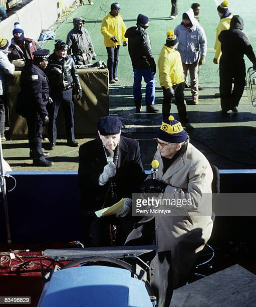 Brent Musburger and Jimmy The Greek Snyder of The NFL Today talk during their pregame show before the Washington Redskins 2117 victory over the...