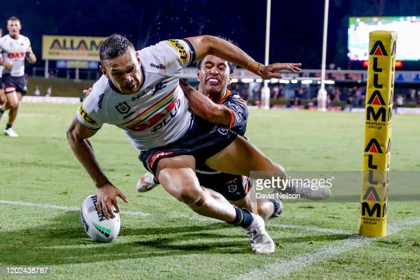 Brent Naden of the Panthers scores during the NRL Trial match between the Penrith Panthers and the Wests Tigers at Penrith Stadium on February 22,...