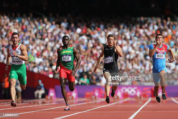 Brent Newdick of New Zealand leads Kurt Felix of Grenada Attila Szabo of Hungary and Ilya Shkurenev of Russia in the Men's Decathlon 100m Heats on...