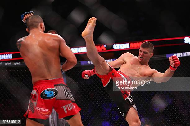 Brent Primus throws a kick at Gleristone Santos during their bout in Bellator 153 at Mohegan Sun Arena on April 22, 2016 in Uncasville, Connecticut.