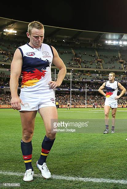 Brent Reilly of the Crows walks off after their loss during the round five AFL match between the Carlton Blues and the Adelaide Crows at Melbourne...