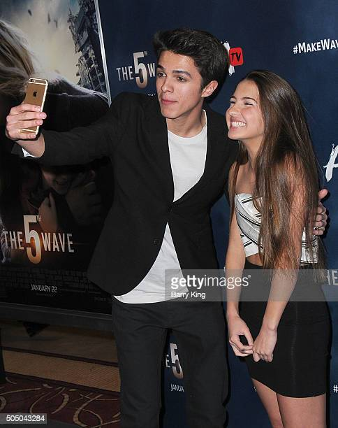 Brent Rivera and Lexi Rivera attend the Awesomeness TV Special Fan Screening of 'The 5th Wave' at Pacific Theatre at The Grove on January 14 2016 in...