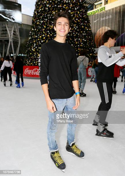 Brent Rivera attends Instagram's #Instaskate 2018 at LA Kings Holiday Ice LA Live on November 27 2018 in Los Angeles California