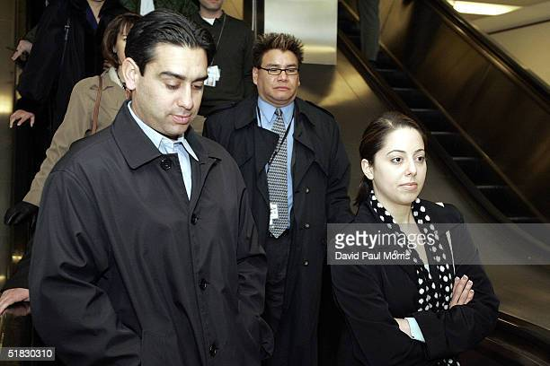 Brent Rocha and Amy Rocha the brother and half sister of Laci Peterson leave for a lunch break during the Scott Peterson sentencing phase on December...
