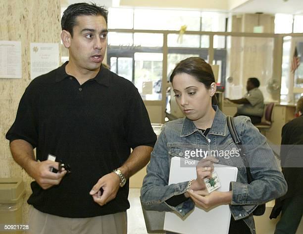 Brent Rocha brother of Laci Peterson and Amy Rocha sister of Laci Peterson arrive for the San Mateo County Courthouse for the third day in the Scott...