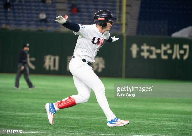 Brent Rooker of team USA hit a two run homerun during the WBSC Premier 12 Super Round game between USA and Chinese Taipei at the Tokyo Dome on...