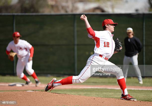 Brent Schwarz of Regis Jesuit High School is pitching against Mountain Vista High School at Regis Jesuit High School Aurora Colorado April 30 2014...