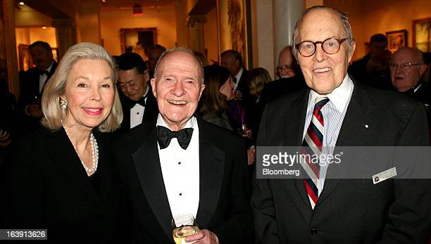 Brent Scowcroft former US national security adviser center poses for a photograph with Philip Pillsbury a retired US foreign service officer and a...