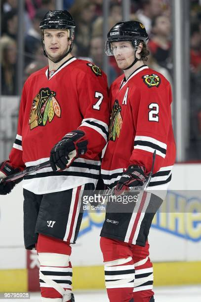 Brent Seabrook and Duncan Keith of the Chicago Blackhawks talk in between play during the game against the Anaheim Ducks on January 10, 2010 at the...