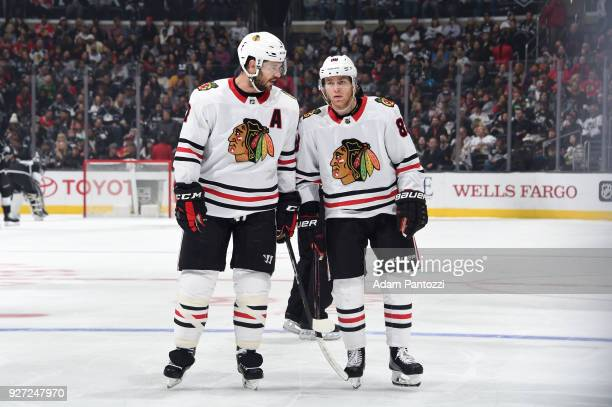 Brent Seabrook and Patrick Kane of the Chicago Blackhawks converse during a game against the Los Angeles Kings at STAPLES Center on March 3 2018 in...