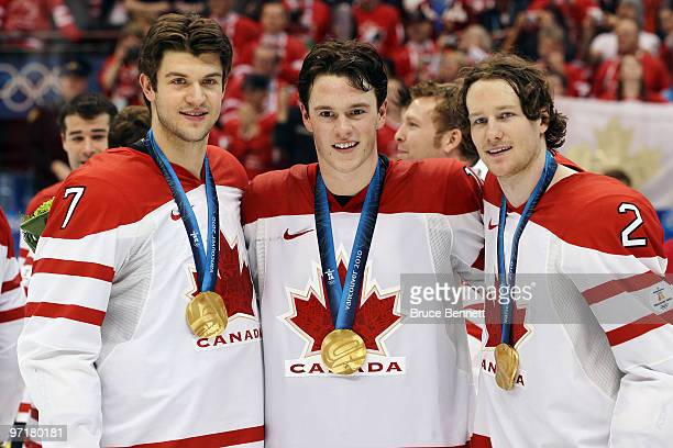 Brent Seabrook Jonathan Toews and Duncan Keith of Canada during the ice hockey men's gold medal game between USA and Canada on day 17 of the...