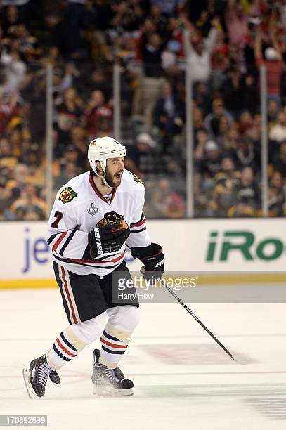Brent Seabrook of the Chicago Blackhawks celebrates after scoring the game winning goal against the Boston Bruins in overtime in Game Four of the...