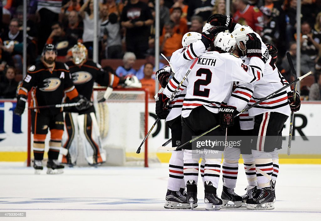 Brent Seabrook #7 of the Chicago Blackhawks celebrates his third period goal with teammates against the Anaheim Ducks in Game Seven of the Western Conference Finals during the 2015 NHL Stanley Cup Playoffs at the Honda Center on May 30, 2015 in Anaheim, California.