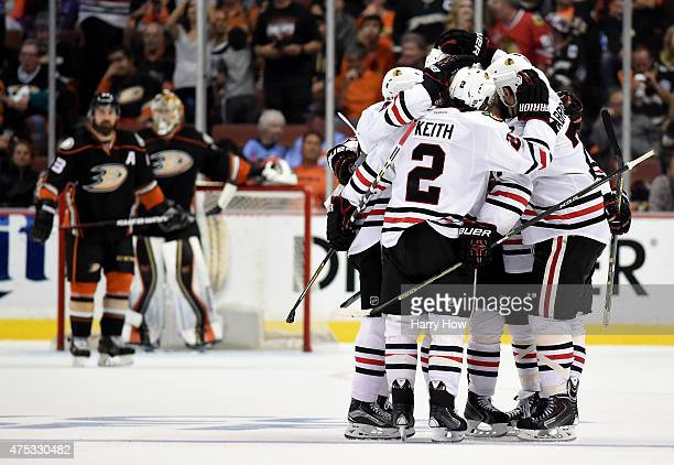 Brent Seabrook of the Chicago Blackhawks celebrates his third period goal with teammates against the Anaheim Ducks in Game Seven of the Western...