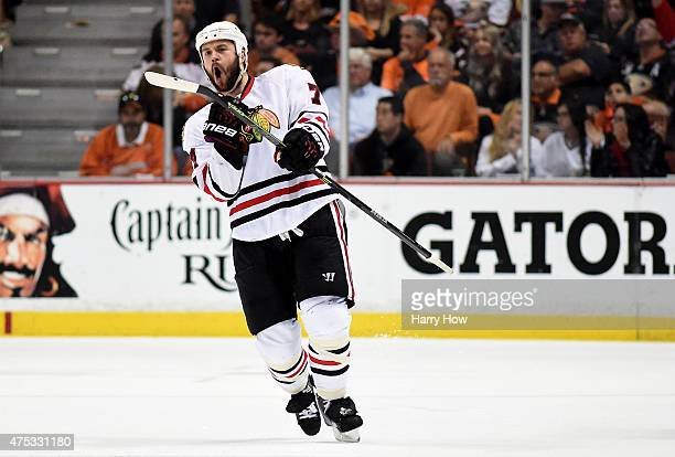 Brent Seabrook of the Chicago Blackhawks celebrates his third period goal against the Anaheim Ducks in Game Seven of the Western Conference Finals...