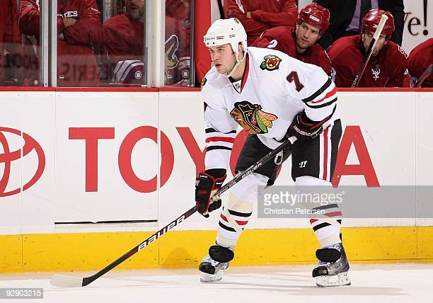 Brent Seabrook of the Chicago Blackhawks during the NHL game against the Phoenix Coyotes at Jobingcom Arena on November 5 2009 in Glendale Arizona...