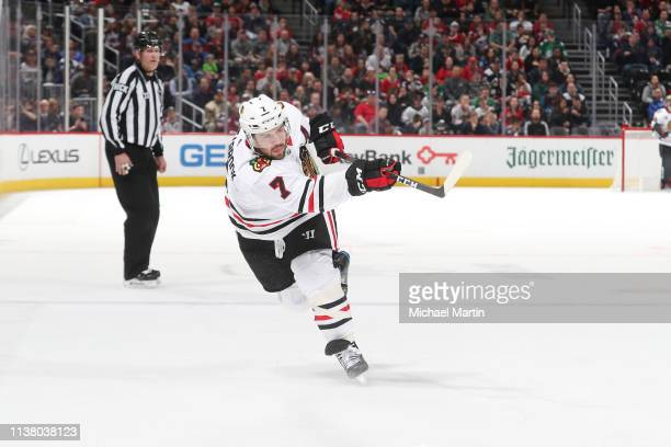 Brent Seabrook of the Chicago Blackhawks shoots against the Colorado Avalanche at the Pepsi Center on March 23 2019 in Denver Colorado The Avalanche...