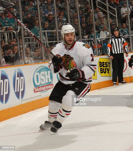 Brent Seabrook of the Chicago Blackhawks skates behind the net in Game One of the Western Conference Finals during the 2010 NHL Stanley Cup Playoffs...
