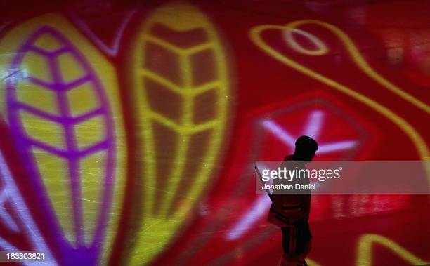 Brent Seabrook of the Chicago Blackhawks skates during player introductions before a game against the Colorado Avalanche at the United Center on...