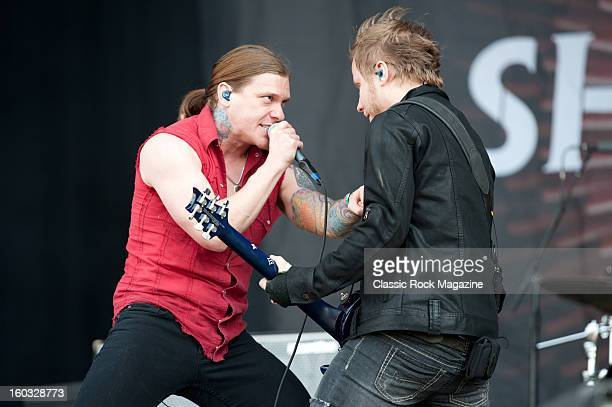 Brent Smith and Zach Myers of American rock band Shinedown performing live onstage at Download Festival June 10 2012