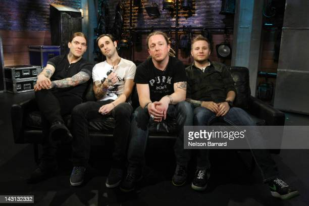 Brent Smith Eric Bass Barry Kerch and Zach Myers of the band Shinedown visit fuse's Top 20 at fuse Studios on April 19 2012 in New York City