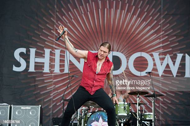 Brent Smith of American rock band Shinedown performing live onstage at Download Festival June 10 2012