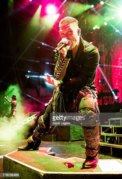 Brent Smith of Shinedown performs at DTE Energy Center on August 27 2013 in Clarkston Michigan