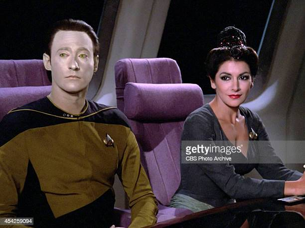 "Brent Spiner as Lt. Commander Data and Marina Sirtis plays Counselor Deanna Troi in the Star Trek: The Next Generation episode, ""The Big Goodbye.""..."