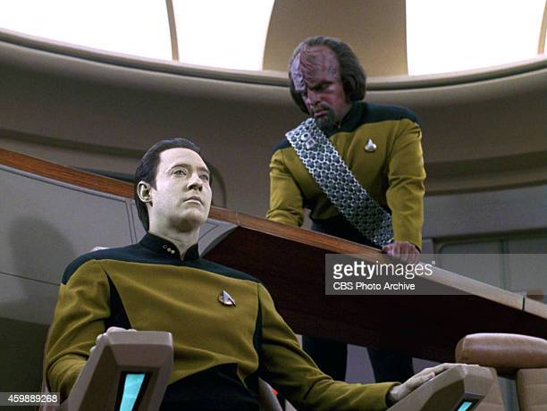 Brent Spiner as Lt Commander Data and Michael Dorn as Lieutenant Worf in the STAR TREK THE NEXT GENERATION episode The Hunted Season 3 episode 11...