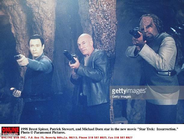 "Brent Spiner, Patrick Stewart, And Michael Dorn Star In The New Movie ""Star Trek: Insurrection."""