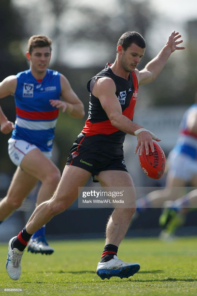 Brent Stanton of Essendon Bombers kicks the ball during the round 18 VFL match between the Essendon Bombers and Footscray Bulldogs at Windy Hill on August 19, 2017 in Melbourne, Australia.