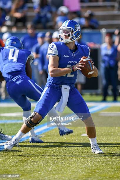 Brent Stockstill passing the ball during the NCAA football game between the UTSA Roadrunners and the MTSU Blue Raiders on November 5 at Johnny Red...