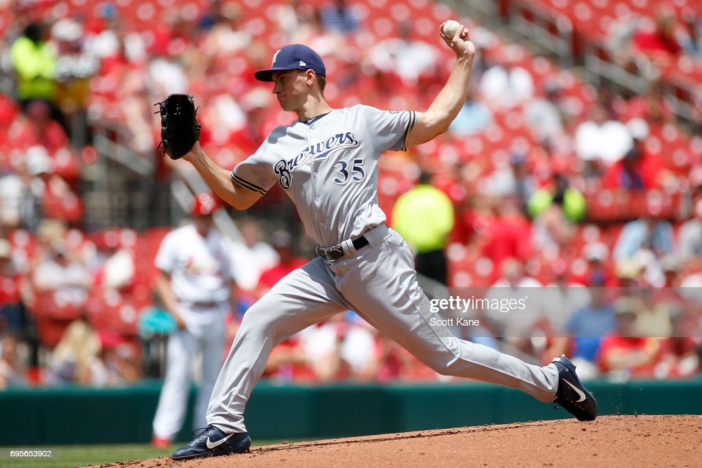 Brent Suter #35 of the Milwaukee Brewers pitches during the first inning against the St. Louis Cardinals at Busch Stadium on June 13, 2017 in St. Louis, Missouri.