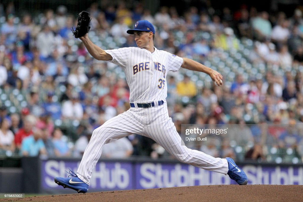 Brent Suter #35 of the Milwaukee Brewers pitches in the first inning against the Philadelphia Phillies at Miller Park on June 15, 2018 in Milwaukee, Wisconsin.