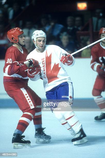 Brent Sutter of Team Canada skates on the ice during the 1984 Canada Cup against Team USSR in September 1984 at the Montreal Forum in Montreal Quebec...