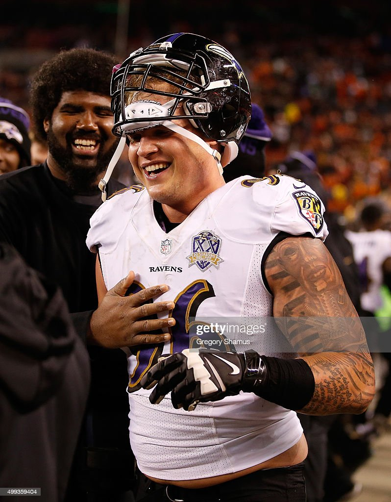 Brent Urban #96 of the Baltimore Ravens celebrates his blocked field goal that lead to a touchdown during the fourth quarter against the Cleveland Browns at FirstEnergy Stadium on November 30, 2015 in Cleveland, Ohio. Baltimore won the game 33-27.