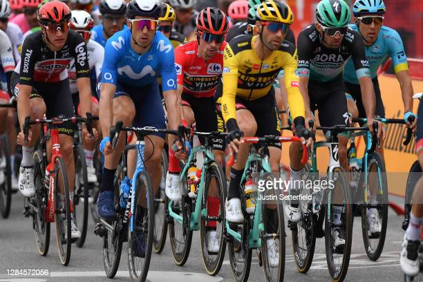 Brent Van Moer of Belgium and Team Lotto Soudal / Imanol Erviti of Spain and Movistar Team / Primoz Roglic of Slovenia and Team Jumbo - Visma Red...