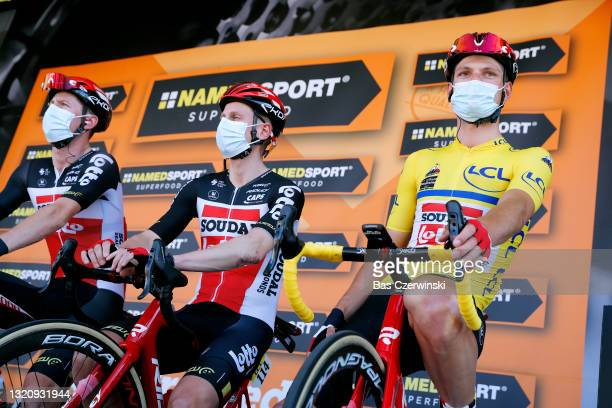 Brent Van Moer of Belgium and Team Lotto Soudal yellow leader jersey at start in Brioude City during the 73rd Critérium du Dauphiné 2021, Stage 2 a...