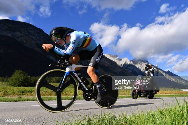 Brent Van Moer of Belgium / during the Individual Time Trial Men Under 23 a 278km race from Wattens to Innsbruck 582m at the 91st UCI Road World...