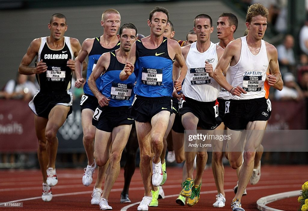 Brent Vaughn leads the pack while competing in the men's 5,000 meter preliminary round during day one of the U.S. Track and Field Olympic Trials at Hayward Field on June 27, 2008 in Eugene, Oregon.