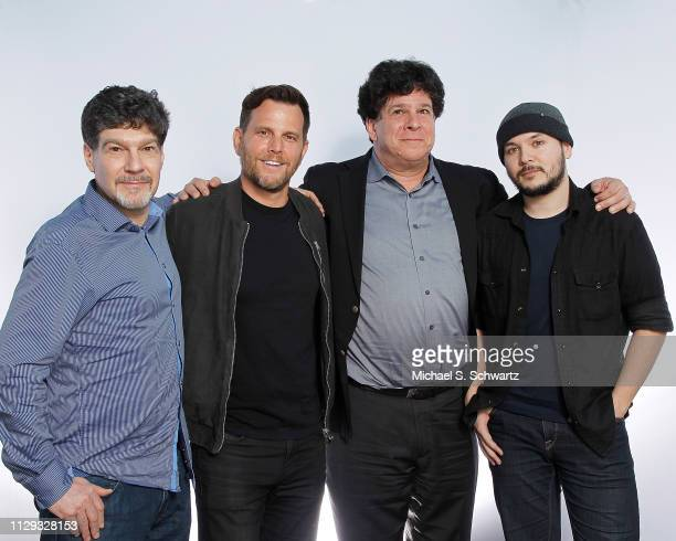 Brent Weinstein comedian political commentator and TV personality Dave Rubin Eric Weinstein and journalist Tim Pool pose during their appearance at...