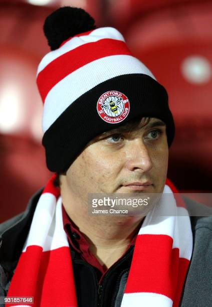 Brentford fan looks on prior to the Sky Bet Championship match between Brentford and Cardiff City at Griffin Park on March 13 2018 in Brentford...