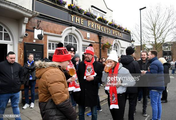 Brentford Fans enjoy a Pint at the Princess Royal Pub prior to the FA Cup Fourth Round match between Brentford FC and Leicester City at Griffin Park...