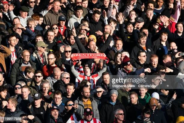 Brentford fans enjoy the prematch atmosphere during the Sky Bet Championship match between Brentford and Middlesbrough at Griffin Park on February 8...