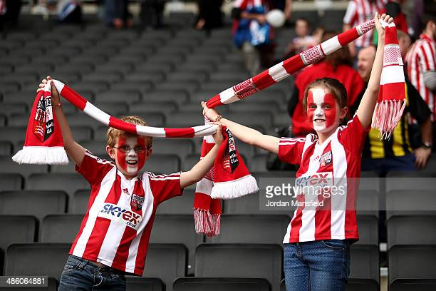 Brentford FC fans cheer at the final whistle of the Sky Bet League One match between MK Dons and Brentford at Stadium mk on April 21 2014 in Milton...