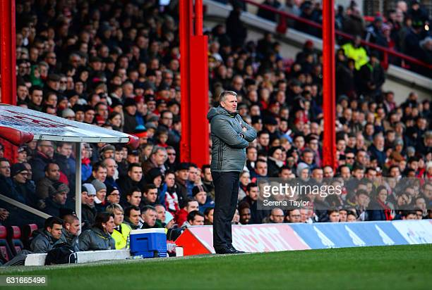 Brentford Football Club Manager Dean Smith stands pitch side during the Championship Match between Brentford and Newcastle United at Griffin Park on...